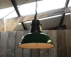 green painted industrial pendant light