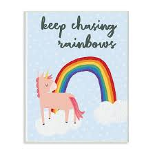 Shop The Kids Room By Stupell Pink Unicorn Keep Chasing Rainbows Wall Plaque Art 10 X 15 Proudly Made In Usa Overstock 26951268