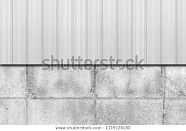 Metal Fence Concrete Block Wall Background Stock Photo Edit Now 1119128180