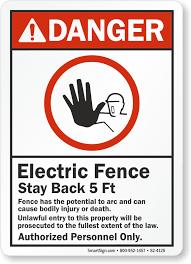Danger Electric Fence Stay Back 5 Feet Sign Sku S2 4125