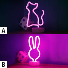 Lovely Cat Bunny Purple Light Kids Room Night Light For Decorative Beautifulhalo Com
