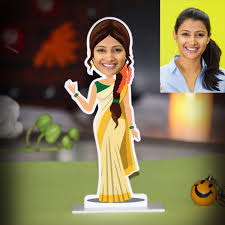 lady from kerala caricature photo stand