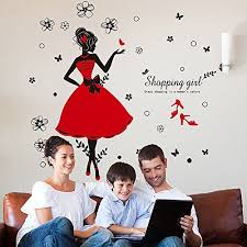 Kaimao Dance Girl Removable Wall Stickers Art Decal Murals For Shopping Mall Clothing Store Decoration Girls Wall Stickers Vinyl Decal Diy Shop Decoration