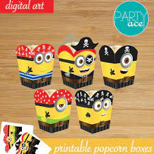 Minions Pirates Popcorn Favor Candy Box Despicable Me Printable