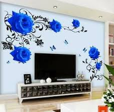 Wall Stickers Blue Rose Vine Floral Wall Tattoo Art Decal Home Decor Living Room Ebay