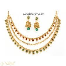 22k gold uncut diamond necklace sets