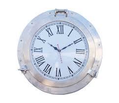 brushed nickel plated metal wall clock