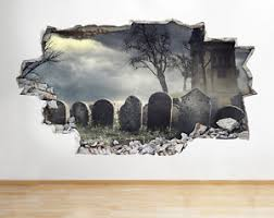 Wall Stickers Graveyard Gothic Night Scene Decal Poster 3d Art Vinyl Room A149 Ebay