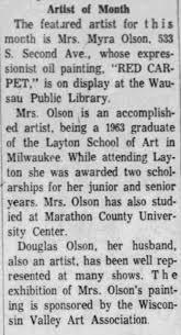 Myra and Douglas Olson artists Wausau Daily Herald article 29 Jul 1965 -  Newspapers.com