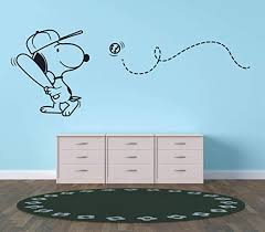 Amazon Com Snoopy Wall Decals For Kids Bedroom Snoopy Dog Boy Room Decor Vinyl Art Stickers Decal Childrens Rooms The Peanuts Movie Cartoon Character Baseball Sports Fun Dogs Decoration