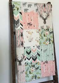 fl pink mint deer baby quilt crib