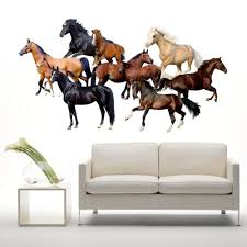 3d Cartoon Horses Wall Stickers For Kids Room Home Decoration For Bedroom Cartoon Animals Art Wall Paper Poster Home Decor Wallcorners Art Canvas