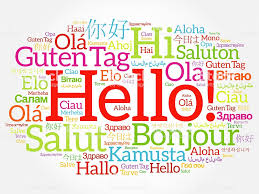 Hello Word Cloud Collage In Different Languages Foto de stock y ...