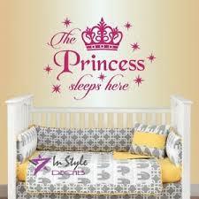 Vinyl Decal Princess Sleeps Here Crown Girls Nursery Kids Room Wall Sticker 1660 Ebay