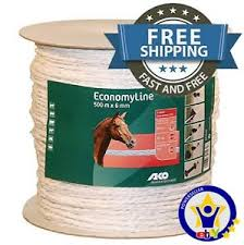 500m 6mm Electric Fence Rope White Tape Wire Conductor Poly Horse Paddock Ebay