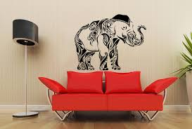 Housewares Wall Vinyl Decal Animal Tribal Elephant Floral Patterns Art Indian Design Modern Interior Decor Sticker Removable Room