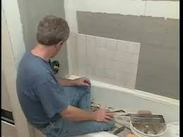 placing ceramics tiles in the walls