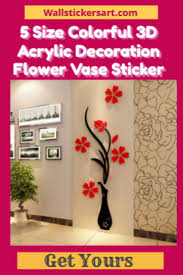 5 Size Colorful 3d Acrylic Decoration Flower Vase Sticker Free Shipping Wall Stickers Art Acrylic Decor Wall Stickers Hallway Vinyl Decor