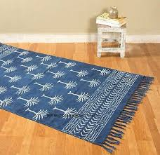 indigo blue rag rug hand block palm