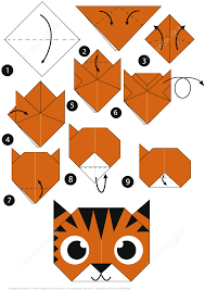 Istruzioni dettagliate per creare un origami a faccia di tigre | Creare con  la carta da stampare