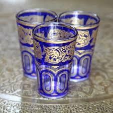 set of six moroccan tea glasses blue