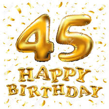 Vector Feliz Cumpleanos 45a Celebracion Globos De Oro Y Brillos