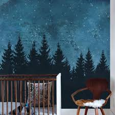Forest Trees Night Scene Mural Wall Art Wallpaper Peel And Stick