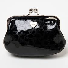 white patent leather coach purse