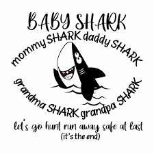 Baby Shark Mommy Shark Daddy Shark Grandma Shark Grandpa Shark Nursery Rhymes Wall Art Decal 20 X 20 Diy Removable Vinyl Sticker Stick And Peel Kids Bedroom Decoration Sticker