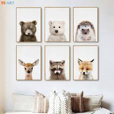 Baby Polar Bear Deer Fox Hedgehog Prints Woodland Nursery Animal Wall Art Kids Room Large Canvas Painting Decoration Pictures Painting Calligraphy Aliexpress