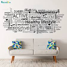 Healthy Lifestyle Vinyl Decals Word Cloud Collage Unique Gift Home Decor Living Room Bedroom Removable Wall Art Sticker Yt2286 Wall Stickers Aliexpress