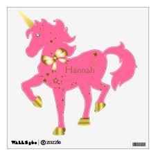Pink Gold Star Light Custom Unicorn Wall Decal Zazzle Com