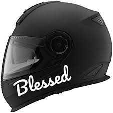 Amazon Com Blessed Auto Car Racing Motorcycle Helmet Decal 5 White Automotive
