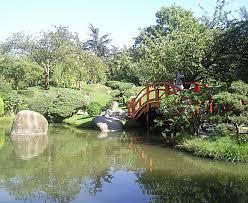 zen garden with a japanese bridge in