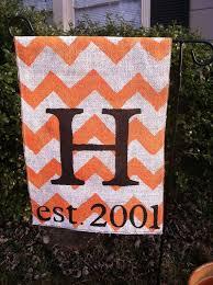 burlap garden flag chevron orange and