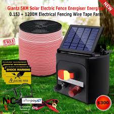 Giantz 5km Solar Electric Fence Energiser Energizer 0 15j 1200m Electrical Fencing Wire Tape Far In 2020 Solar Electric Fence Electric Fence Electric Fence Energizer