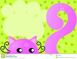 Tarjeta Rosada De La Invitacion Del Gato Stock De Ilustracion
