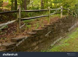 Retaining Wall Preventing Erosion Along Property Parks Outdoor Stock Image 1207946770