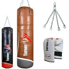 leather punch bag with bag gloves