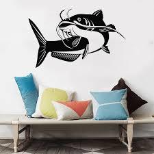 Catfish Wall Stickers Fishing Club Window Mural Bass Fish Vinyl Wall Decal Fisher Hobby Big O276 Wall Stickers Aliexpress