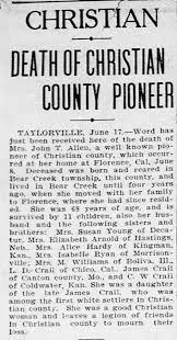 Death of Mrs. John T Allen - descendant of James Crail - Newspapers.com