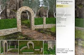 Second Life Marketplace Sway S Ethan Brick With Hedge Fence Archway