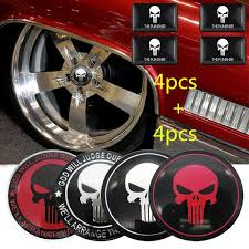 Airyclub 4pcs 56mm 4pcs Square Labeling Cool The Punisher Car Wheel Sticker Car Steering Tire Wheel Center Sticker Hub Cap Emblem Badge Decals Symbol Car Styling Accessories