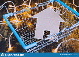 Miniature House Made Of Cardboard In Shopping Basket Stock Image Image Of Building Market 136163299