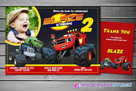 Blaze Monster Machines Invitation Blaze Monster Machine Etsy