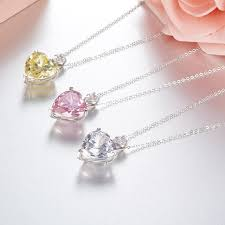 stone love heart necklace 925 silver