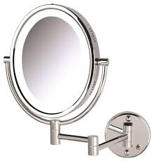 lighted wall mirror with 5x 1x mag