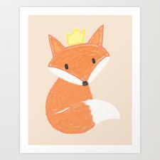 Kids Room Fox With Crown Art Print By Caroldib Society6