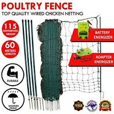 Electric Chicken Net Poultry Fence Netting Battery Energizer Large 60m X 115cm Ebay