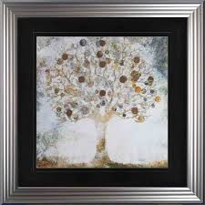 copper coin tree framed wall art with
